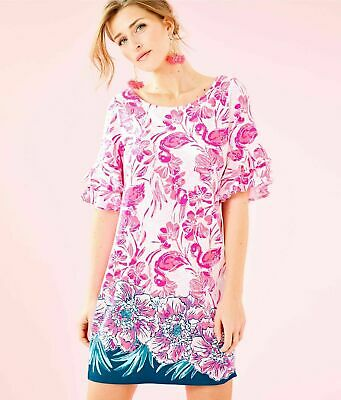 4875b40374006f Lilly Pulitzer Lula Dress Flamingle Engineered Coral Reef Nwt Large $178