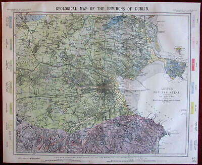 Dublin Ireland environs Geology Geological 1883 Lett's SDUK city plan map