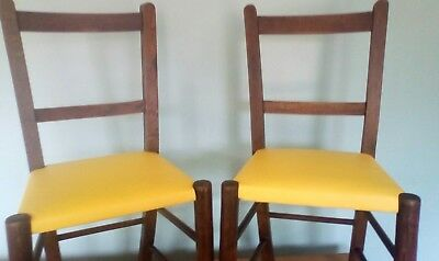 A Pair of Vintage Childs Infant Wooden School Chairs