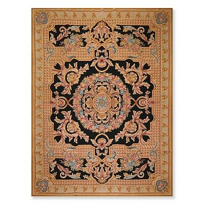 """9'1"""" x 12'1"""" Hand Woven Versace Look Wool French Aubusson Needlepoint Area Rug"""