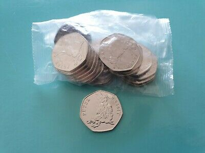 NEW Uncirculated SEALED BAG 20 x 50p  Peter Rabbit 2018 (1 or 2 Flopsy Bunny)