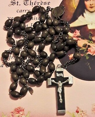 Antique French Rosary Wood Beads & Crucifix, Scapular Medal, Sacred Heart Jesus