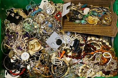 Costume Jewelry Junk Harvest Craft Lots, Small Flat Rate Box Full, 30 Available