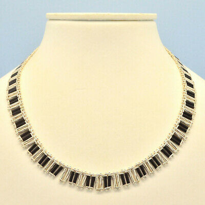 Vintage Necklace 1930s Art Deco Machine Age Silver Plated Black Glass Jewellery