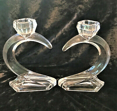 Art Deco Lead Crystal Candle Holders Mid Century Modern