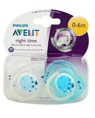 AVENT ORTHODONTIC NIGHT TIME SOOTHERS 0-6M Glow In The Dark Handle