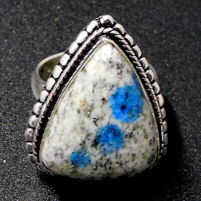 K2 Blue Azurite 925 Sterling Silver Plated Handmade Jewelry Ring UK Size-L 1/2