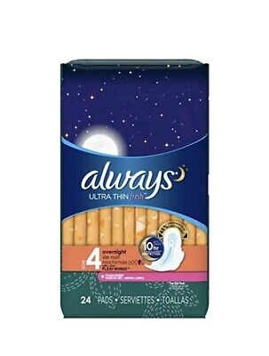 Always Ultra Thin Fresh Pads w/ Wings, Overnight, 24 Ct (6 Pack)