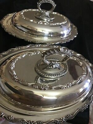 Nice Pair Of Vintage 12 Inch 3 Piece Silver Plate Serving Dishes