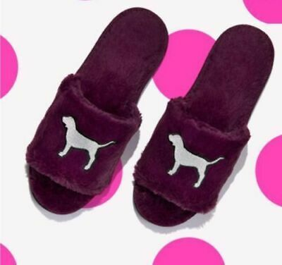 Victorias Secret Pink Dog Logo Cozy Fuzzy Plush Slippers Slides Pick Size Maroon