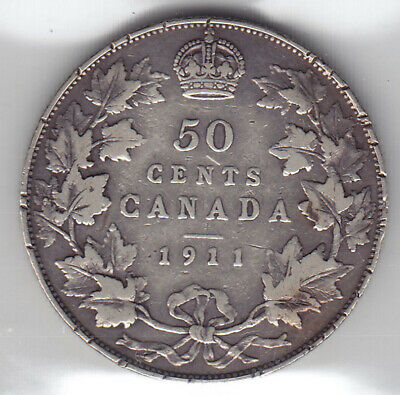 1911 Canada ICCS Graded Silver 50-Cent Half Dollar Coin - V G 10