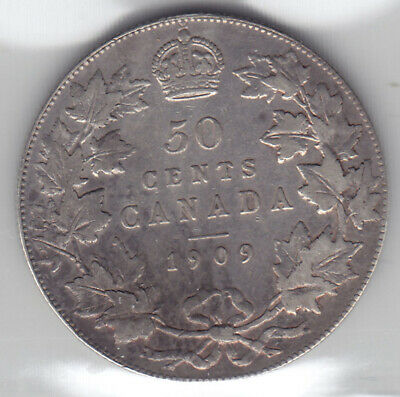 1909 Canada ICCS Graded Silver 50-Cent Half Dollar Coin - V F 20