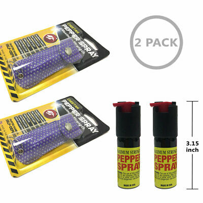 Purple Bling 2 Pack Cheetah Pepper Spray Safety Lock Self-defense Made in USA