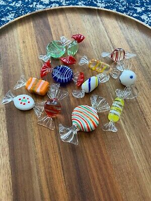 12 Pieces of Murano Colorful Art Glass Wrapped Candy, All Different