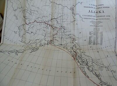 Authentic 1904 large Alaska MAP Signal Corps Telegraph & Cable System Stations