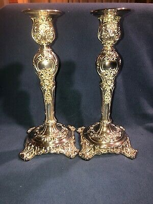 Pair of WM Rogers & Son Silver Plate Candlesticks Victorian Rose Pattern