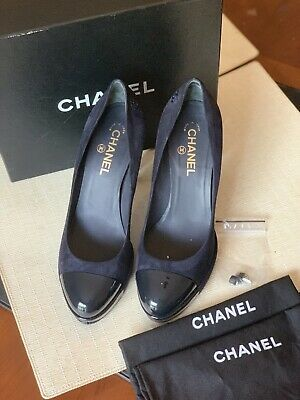 dd501186bb CHANEL Cruise 2015 Black Leather Pearl Embellished Pointed Toe Pumps Heels.