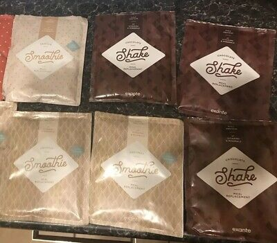 12 X Exante Coconut Smoothies Vanilla Chocolate Diet Whey Bars Salted Caramel
