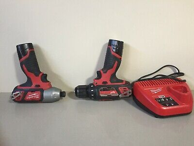 "Milwaukee M12 12-Volt Lithium-Ion Cordless 1/4"" Impact Drive and 3/8"" Drill Set"