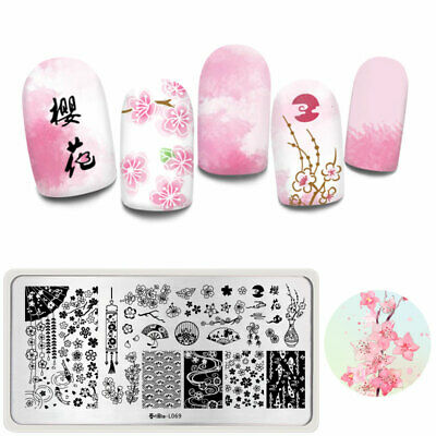 Harunouta Rectangle Stamping Plates Flowers Fish Nail Art Template L069