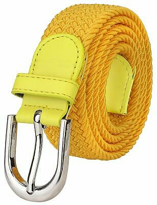 Falari Men Women Canvas Elastic Fabric Woven Stretch Braided Belt - 21 Variety
