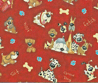 Dog graphic on Red Background Fabric 100% Cotton Scrap Craft Quilt Sew New