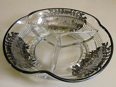 Vintage STERLING SILVER Art Deco Overlay Cut Glass 3 Section CANDY Bowl Dish