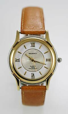 f05163b32 Regency Watch Mens Brown Leather Stainless Silver Gold 30m Water Resist  Quartz