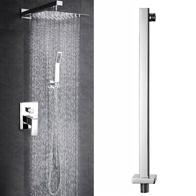 24'' 60cm Chrome Wall Mounted Shower Head Extension Arm Stainless Steel Bathroom