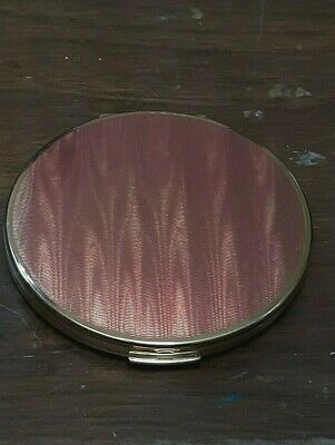 Vtg Stratton London England Pink Goldtone Powder Compact w/ Merle Norman Pouch