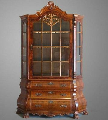 Antique Vintage Chippendale Vitrine China Display Cabinet Bookcase Burr Walnut