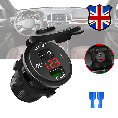 12V/24V Dual QC3.0 USB Car Charger With Switch Quickly Charge Socket Waterproof