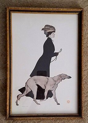"""ANTIQUE ART PRINT 1908 """"The Morning Stroll"""" by EDWARD PENFIELD Vintage Frame"""