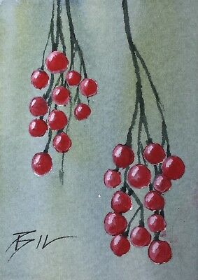 ACEO Original Art Painting by Bill Lupton - Red Berries