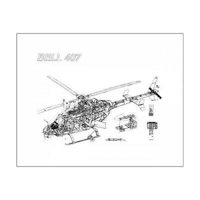 "1570473 10""x8"" (25x20cm) Print of Bell 407 Cutaway Drawing"