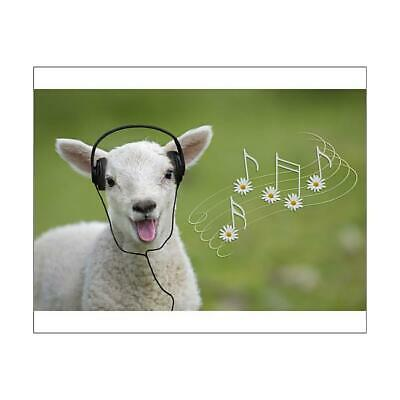 "13437971 10""x8"" (25x20cm) Print Cute spring lamb singing wearing..."