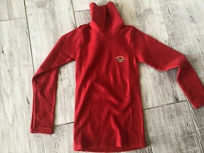 Vintage 70's Children's Red Polo Neck Airforce Jumper 12 deadstock Never Worn