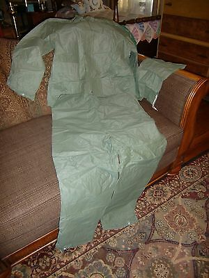 Weather Rite 3 Piece Olive Green Rain Suit, Size S/M, Made In Taiwan