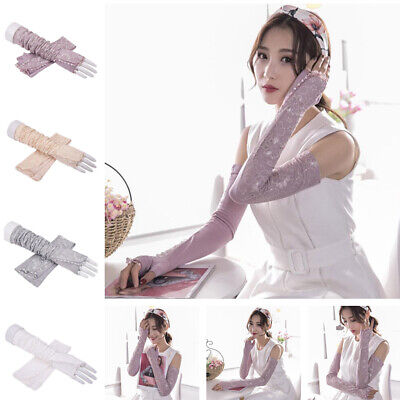 Women Long Lace Floral Half Finger Sunscreen Arm Sleeves Outdoor Gloves Driving