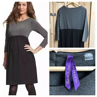 5a2111c6aa508 Seraphine Maternity Tunic Dress Size 12 uk Kitty Jersey Tunic Black Grey  Work