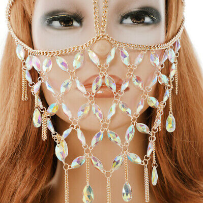 Fashion Face Mask Handmade Jewelry Fetish BDSM Veil Mask Bohemian Head Chain