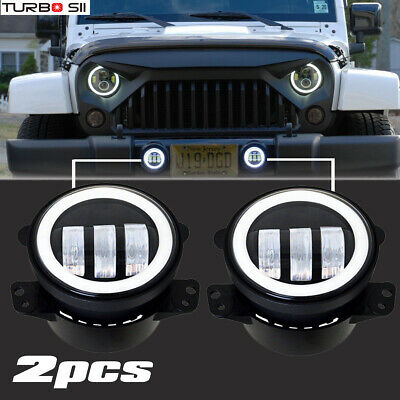 Pair 4Inch 30W Halo LED Fog Lights DRL Driving Lamps for 07-17 Jeep Wrangler JK