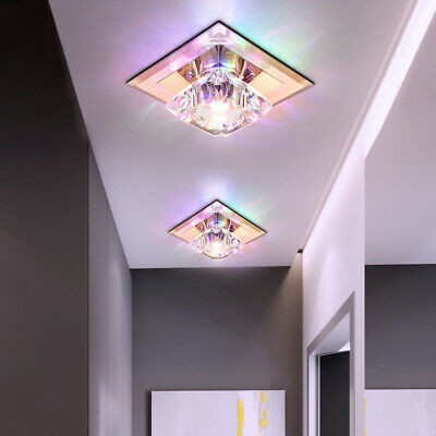 LED Ceiling Lamp Fixture Crystal Glass Light Flush Surface Mount Square Hallway