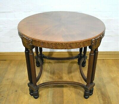 Antique vintage carved round lamp table / side occasional table
