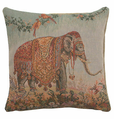 """An Exotic Asian Elephant French Jacquard Tapestry 14x14"""" Cushion Cover"""