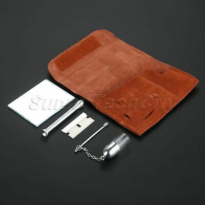 Tobacco Pouch Snuff Kit Pocket Size Leather & Iron & Plastic Smoking Tool Brown