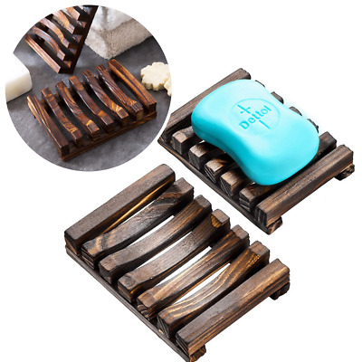 Natural Wooden Bar Soap Saver Holder Dryer Tray Kitchen Bathroom Shower Drainer