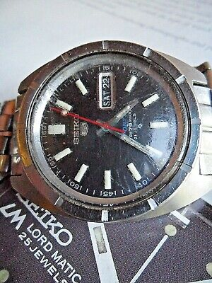 Vintage S/S 1970's Men's Seiko 5 Sports 70 Proof 21J Automatic Watch 6119-8140