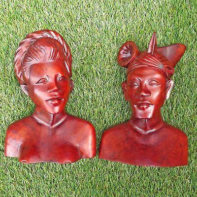 Indonesian Hand Carved Couple - Pair Teak Busts - Wood Bali Man & Woman Carving