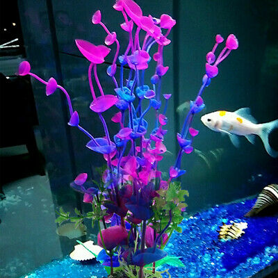 Purple Artificial Fake Fish Tank Plastic Plants Aquarium Aquatic Decor Ornament